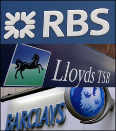 Logos of RBS, Lloyds TSB and Barclays