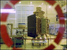 India's first unmanned mission to the moon, Chandrayaan, is unveiled in Bangalore on 18 Sept 2008