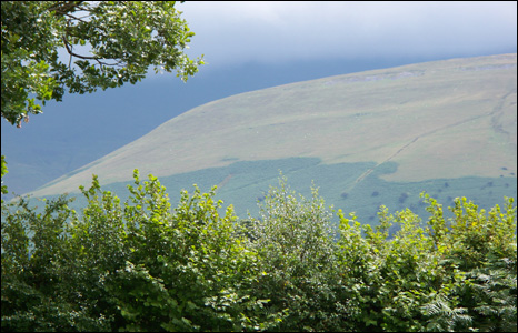 Landscape shot of the Brecon mountains