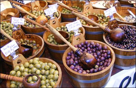Olives at a food fair