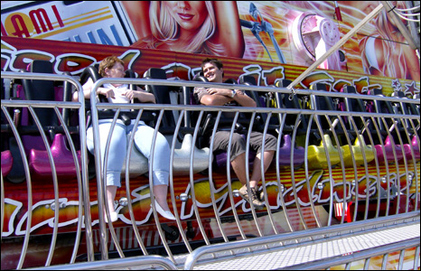 Shot of two people at a funfair