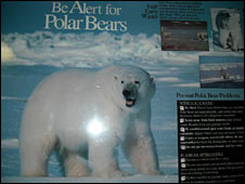 Poster warning of dangers of polar bears in the Top of the World Hotel