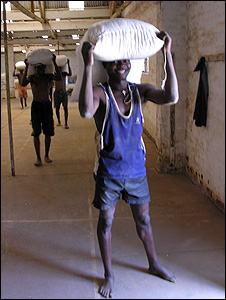 Boys carrying sacks of maize (Image: BBC)
