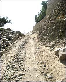 Dirt road in Sherzad district