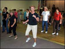 Senior exercise class in Palm Springs