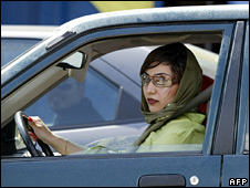 Iranian woman driving in Tehran