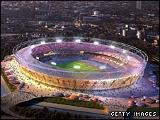 An artist's impression of the Olympic Stadium in Stratford, east London