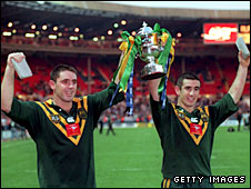 Australia's Brad Fittler and Andrew Johns