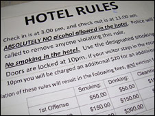 Hotel rules at the Top of the World Hotel, Barrow
