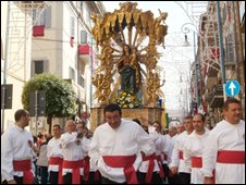 Procession in Marino commemorating the Battle of Lepanto