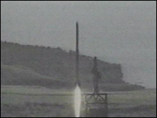 Video grab of North Korean missile test - file image