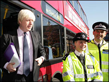 Boris Johnson with police officers