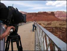 Simon Schama filming in the US West