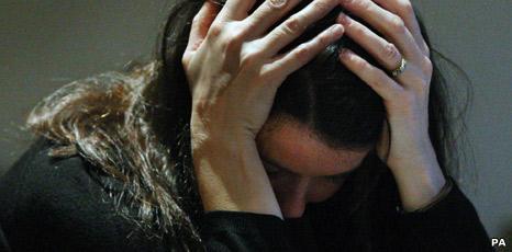 Actress posing as depressed woman