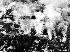 File: Aerial view of widespread fires started during the riots in Detroit in 1967