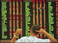Panel de valores de la bolsa de Malasia