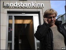 Landsbanki and woman in Iceland