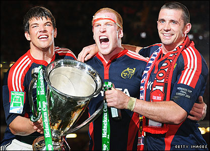 Donncha O'Callaghan, Paul O'Connell and Alan Quinlan celebrate Munster's final victory over Toulouse in Cardiff