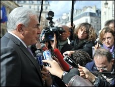International Monetary Found (IMF) chairman Dominique Strauss-Kahn speaks to the press