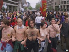 Protesters demonstrating against the World Bank and International Monetary Fund (2000)