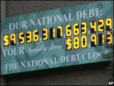 File pic from September 2008 of the US National Debt Clock in New York