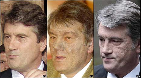 From left to right: Mr Yushchenko in July 2004, December 2004 and October 2008