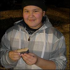 Eating fresh whale meat in barrow, Alaska