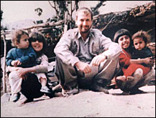 Christopher Howes with some children in Iraq