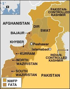 BBC map of the Pakistan's border region with Afghanistan