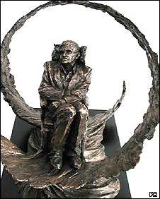 A scale model of a planned sculpture of Professor Stephen Hawking, by artist Eve Shepherd.