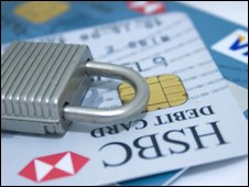 credit cards and padlock