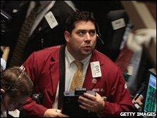 Trader on the New York stock exchange (Oct 9)
