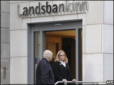 People outside Icelandic bank Landsbankinn