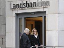 People outside Icelandic bank Landsbankinn