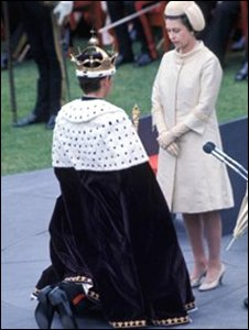 Prince Charles at his investiture in 1969