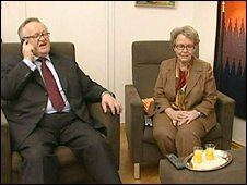 Martti Ahtisaari at home with his wife Eeva Irmeli Hyv�rinen in Helsinki