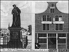 Engraving of house of Erasmus