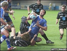 Montpellier's Mamuka Gorgodze is tackled during the match against Bristol