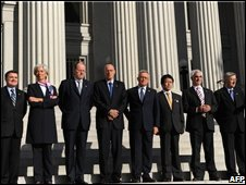 G7 finance ministers outside the US Treasury in Washington, 10 October 2008