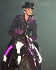 Katie Price performs at the Horse of the Year Show