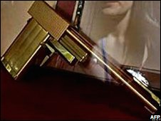 Stolen golden gun that appeared in a 1974 James Bond film