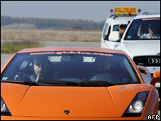 Luc Costermans in his Lamborghini Gallardo near Istres, 11 October