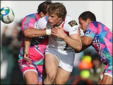 Action from the Heineken Cup game between Ulster and Stade Francais at ravenhill
