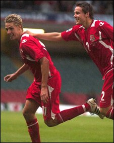 David Edwards celebrates scoring his first goal for Wales
