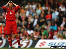 Craig Bellamy shows his despair at his penalty miss