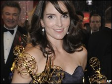 Tina Fey with her awards for 30 Rock