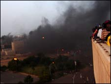 Smoke drifts outside the stadium in Dakar