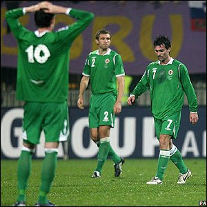 Northern Ireland players look dejected