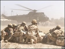 British troops in Helmand province, Afghanistan, 4/10/08