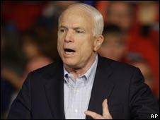 John McCain at a rally in Iowa on 11 Oct